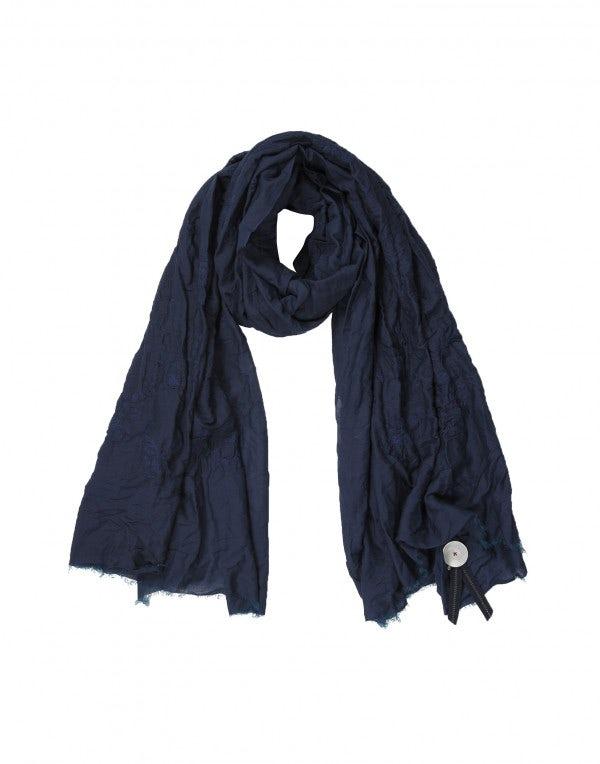 FREYA: Sciarpa ricamata tono su tono blu