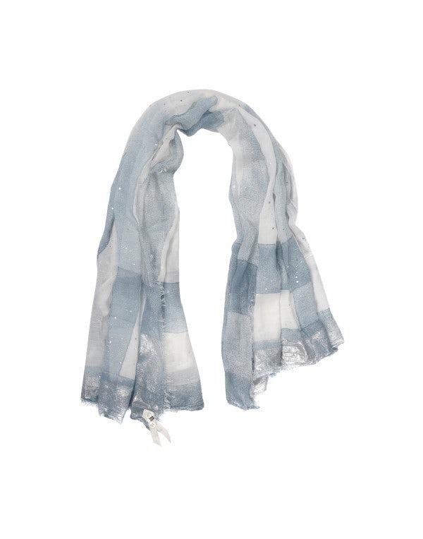 KANJI: Sciarpa stampata blu e crema con quadrettatura sfumata