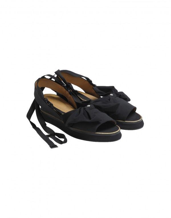 BOWTIE: Sandali neri in tessuto con zeppa e fiocco