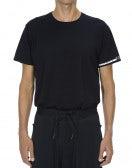 ANDERS: T-shirt tecnica blu navy con logo