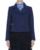 THACKERAY: Royal blue and black double breasted jacket with peplum