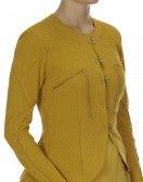 GREET: Giacca in jersey girocollo color giallo ocra