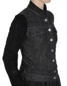 FRONTIER: Black striped denim jacket with flock sleeves