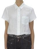 FLORA: Camicia bianca in lino rigato