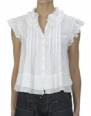 PICNIC: Top bianco con balze e pieghe cucite