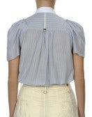 NUANCE: Camicia a maniche corte rigata blu