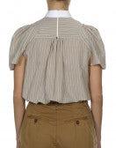 NUANCE: Camicia a maniche corte rigata beige