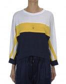 TRULY: Top in stile felpa bianco, giallo e blu navy
