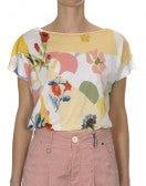 INTERPLAY: T-shirt con stampa floreale gialla e rosa