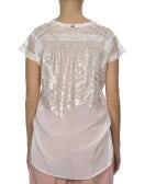 CANDOUR: T-shirt rosa chiaro con pizzo