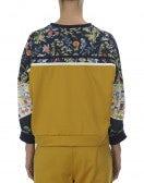 AESTHETIC: Top a felpa in tessuto floreale, giallo, blu navy e crema