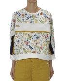 AESTHETIC: Top a felpa in tessuto floreale, crema, blu navy e giallo