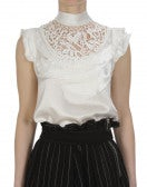 """EVOKE: High neck top in cream silk with """"petals"""" and lace"""