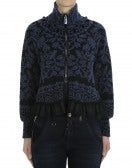 DINGLE: Black and navy roll neck cardigan with stylised floral