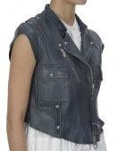 ROWDY: Gilet-biker in pelle, blu scuro