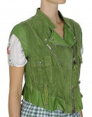 ROWDY: Green suede and leather biker gilet