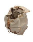 GRAB: Zaino color sabbia in cotone e pelle