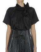 VANITY: Black short sleeve tie neck shirt