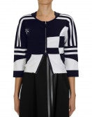 RALLY: Navy and white cropped zip-up cardigan