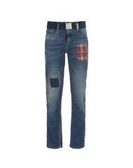 """NEW BOY: Jeans """"Pioneer wash"""" con applicazioni"""