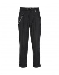 COURAGE: Dark grey cropped pants with turn-up cuff