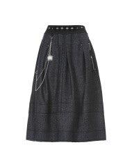 BURLETTA: Blue flecked wool skirt