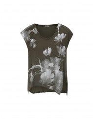 DAUB: T-shirt con stampa floreale su fondo oliva scuro