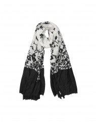 AUBREY: Sciarpa con stampa floreale nera su fondo crema