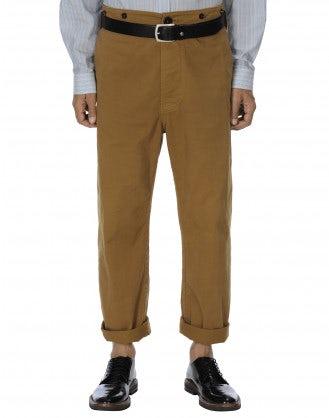 GRANT: Pantalone a gamba dritta in drill color biscotto