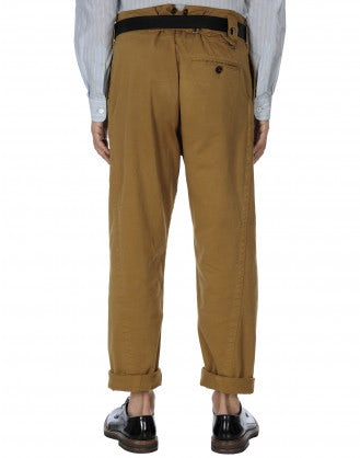 GRANT: Pantalone a gamba dritta in drill color biscotto