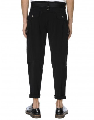 MINIMAC: Pantaloni in twill tecnico nero con cuciture multiple