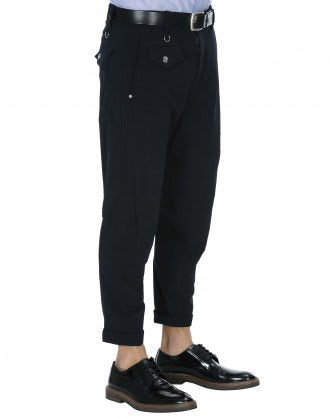MINIMAC: Pantaloni in twill tecnico blu navy con cuciture multiple