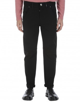 STEFAN: Pantaloni neri in twill tecnico