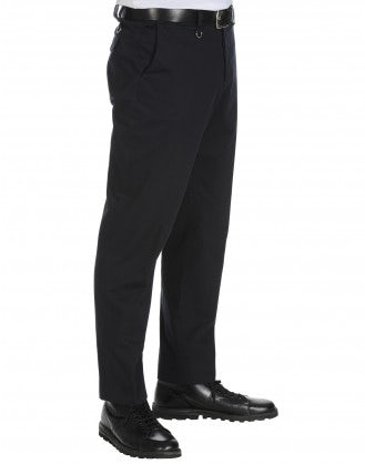 IMPOSE: Man's navy drill flat front pants