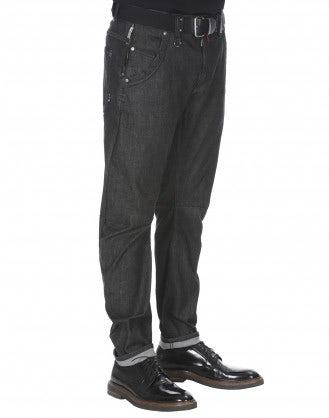 """VICTOR: Jeans neri in denim con """"resin wash"""""""
