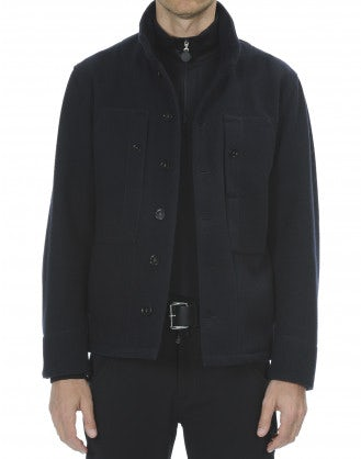 ANGUS: Giacca in lana stretch blu navy