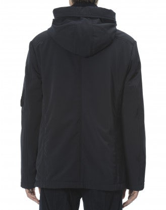 BALFOUR: Cappotto corto blu navy con cappuccio