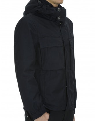 ALL-SEASON: Hooded outer jacket in navy technical twill