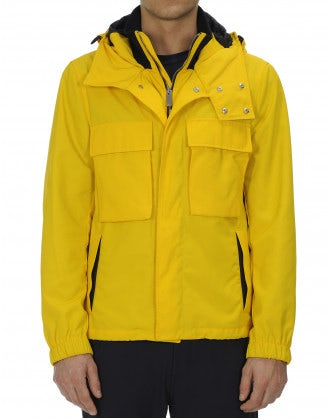 ALL-SEASON: Hooded outer jacket in yellow technical twill