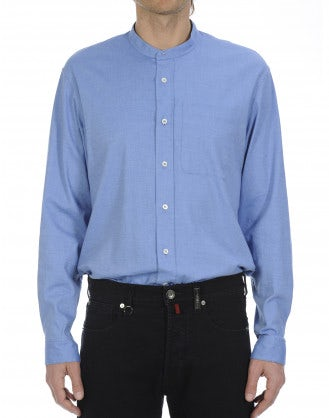 GLEN: Azure brushed cotton shirt