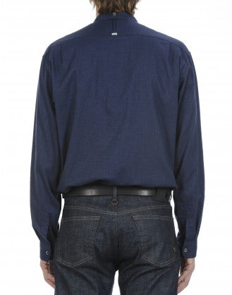 GLEN: Navy brushed cotton shirt