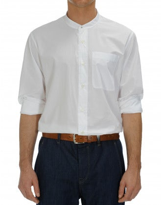 GLEN: White cotton low stand collar shirt