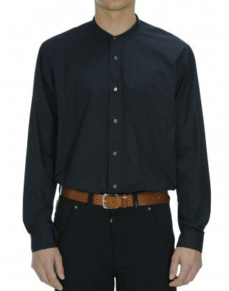 GLEN: Navy cotton low stand collar shirt