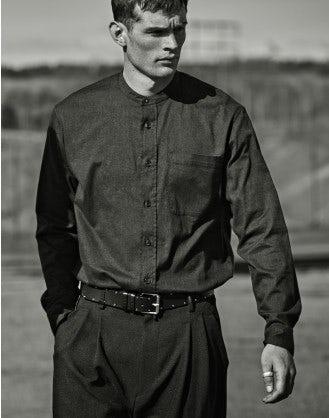GLEN: Camicia in cotone spazzolato grigio carbone