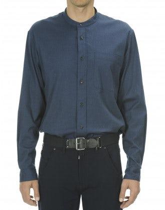 GLEN: Camicia in cotone spazzolato blu navy
