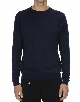 LEIGHTON: Maglia in lana ultraleggera blu navy