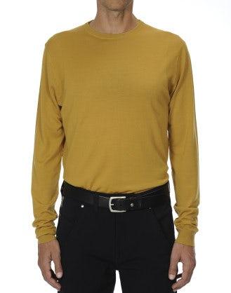 LEIGHTON: Maglia in lana ultraleggera color calendula