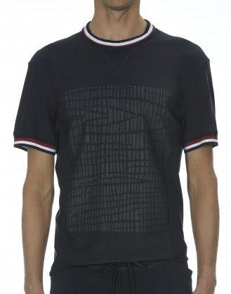 "ROLF: T-shirt blu con stampa ""pneumatico"""