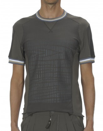 "ROLF: T-shirt khaki con stampa ""pneumatico"""