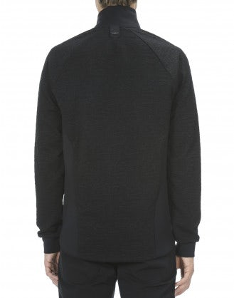 ROSS: Maglia nera in jersey con doppia zip